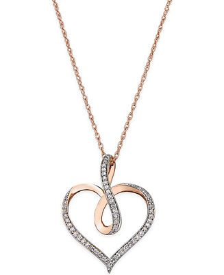 Round Cut White Diamond Tilted Heart Pendant Necklace In 14K Gold Over Sterling Silver 0.06 Cttw