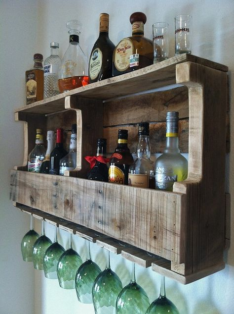 Rustic Wine Rack Extra Wide Liquor Rack by GreatLakesReclaimed, $109.00 via Etsy