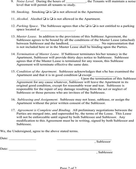 Sublease Agreement Page 2 Lease agreement Pinterest Money - basic sublet agreement