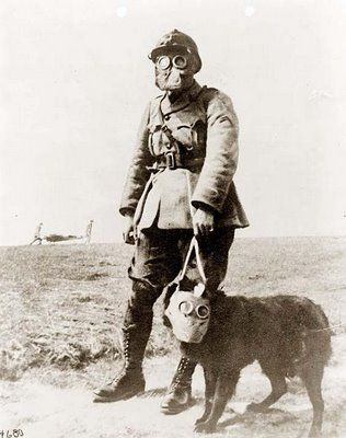 This is a picture of a French soldier in World War I wearing a gas mask. It is interesting to note that even his dog is fitted with a gas mask just for him. Also notice in the background, there appears to be two men carrying the wounded from the battlefield.