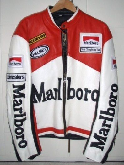 Marl Boro Two Tone Red White Alpinestar Michelin Helmet Racing Motorcycle Leather Jacket Leadstyle Leather Motorcycle Jacket Marlboro Jacket Jackets