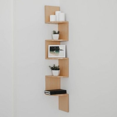 48 5 X 7 7 Zigzag Corner Shelf Maple Danya B Shelves