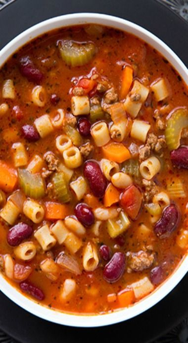 Copycat Olive Garden pasta e fagioli soup recipe! Just as delicious, if not more, than the restaurant version. Add this to your copy cat soup recipes!