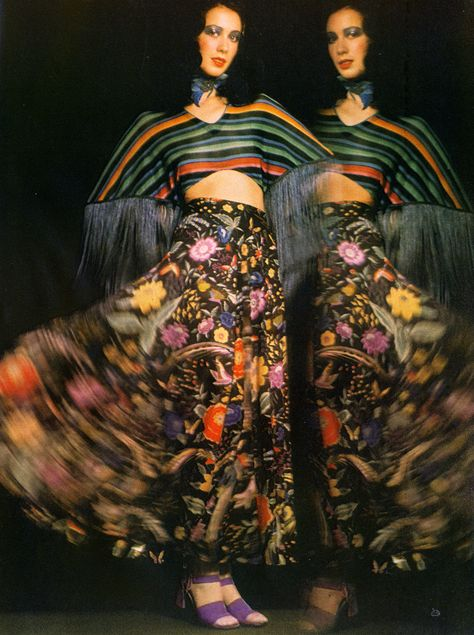 Ideas for double exposures or post production! Moyra Swan wearing Missoni, photo by Barry Lategan Vogue UK 1972