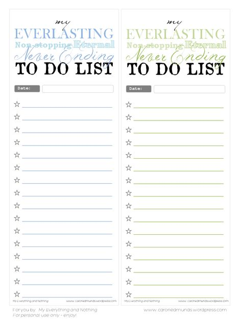 Free printable - To do lists