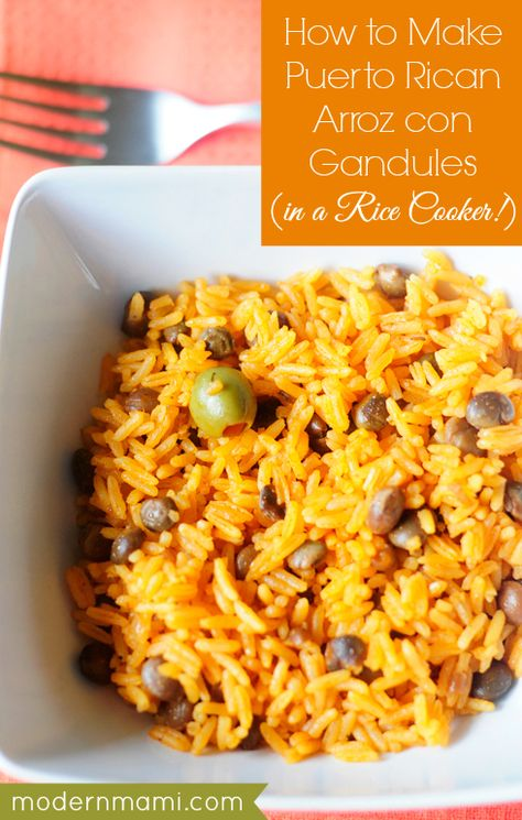 Arroz con Gandules Recipe (Puerto Rican Rice with Pigeon Peas) -- delicious, and I left out the olives