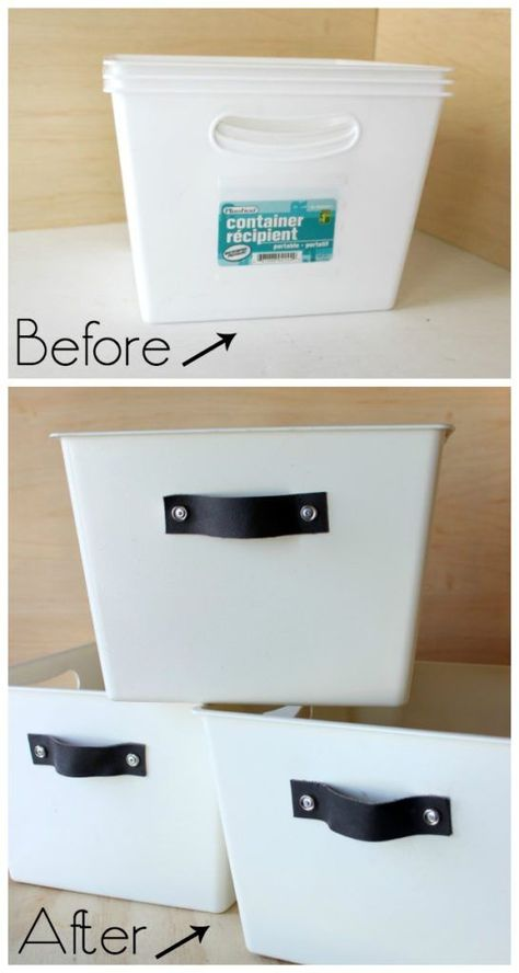 Turn any dollar store bin into DIY stylish organization totes with spray paint a… Turn every dollar reservoir of spray paint and leather handles into a stylish DIY organizer bag. Perfect for kitchen, bedroom or linen closet! Dollar Store Bins, Dollar Store Hacks, Dollar Store Crafts, Dollar Stores, Dollar Tree Storage Bins, Decorative Storage Boxes, Dollar Store Decorating, Dollar Store Mirror, Diy Deco Rangement