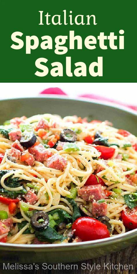 You can enjoy this Italian Spaghetti Salad as a side dish or an entree #spaghettisalad #spaghetti #salads #pastasalad #spaghettirecipes #Italian #dinnerideas #saladrecipes #dinner #southernfood #southernrecipes #sidedishrecipes