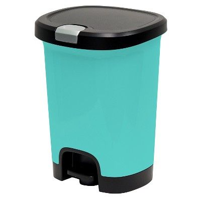 7gal Step-On Trash Can With Locking Lid Turquoise - Room ...