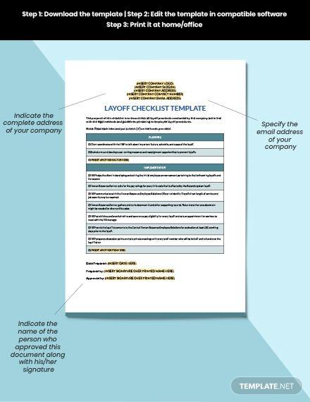 Layoff Checklist Checklist Template Templates Financial Logo