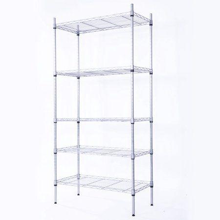5 Tier Wire Metal Shelving Storage Rack Kitchen Shelf Unit Home Garage Organizer