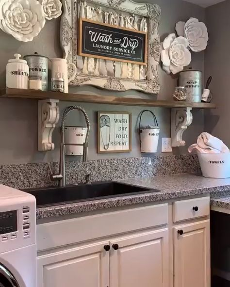 Beautiful fall home decor additions in this laundry room design @fancyfixdecor! Click the image to try our free home design app. Keywords: laundry room ideas, autumnal home decor, autumn home decor ideas, fall home decor ideas, diy home decor fall, open shelving, wall decor, gray interior design, home decor storage, storage design, home decor accessories, home accents, decorative home accessories, home decoration creative, home inspiration decoration, house storage ideas, design inspo