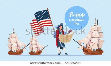 Happy Columbus Day Ship America Discovery Holiday Poster Greeting Card Flat Vector Illustration Shutterstock Premier