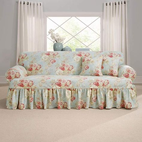 Sure Fit Waverly Ballad Bouquet T Sofa Slipcover Shabby