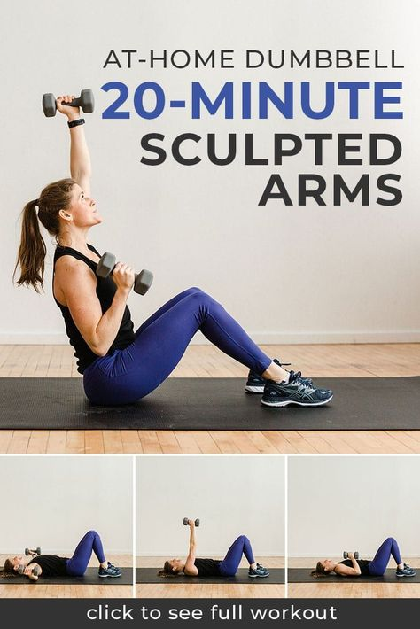 Don't miss these 6 Best Exercises for Toned Arms At Home. These arm exercises for women will help you tone and get fit. You can do it!    Nourish Move Love #workouts #strengthtraining #workoutsforwomen #armworkout Full Upper Body Workout, Body Workout At Home, At Home Workouts, Fitness Exercises At Home, Home Exercises, Full Arm Workout, Tone Arms Workout, Workout Plans, Post Workout
