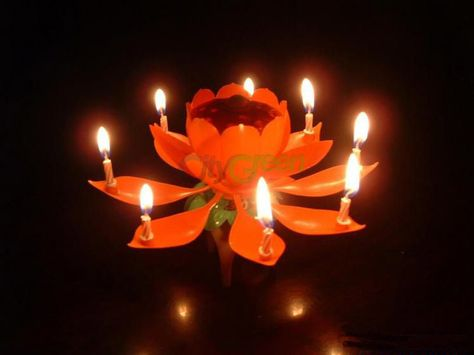 New Creative Sparkling Fountain Flower Lotus Music Birthday Candle From US