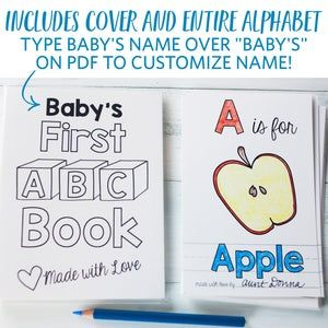 Abc Book Baby Shower Activity Personalized Alphabet Coloring Book Baby Shower Activity Keepsake Virtual Baby Shower Pdf Download 4x6 In 2021 Baby Shower Book Abc Book Baby Shower Activities