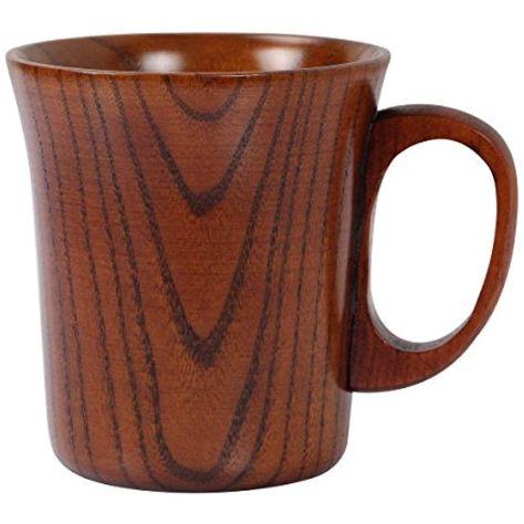 Geeklife Jujube Wood Coffee Mug Wooden Tea Cup, Brown (300ml