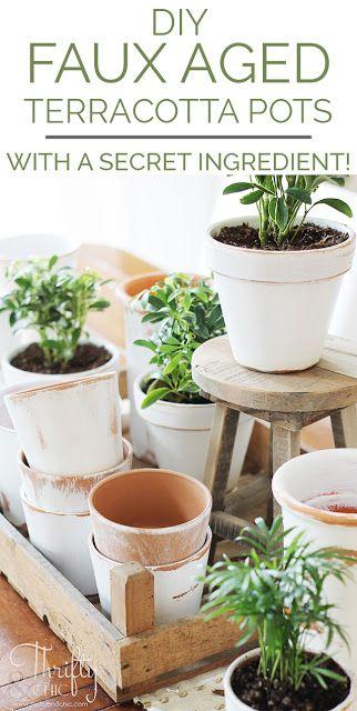Diy Faux Aged Terracotta Pots Using A Secret Ingredient With Images Terracotta Pots Vintage Terracotta Pots Decorating Terra Cotta Pots