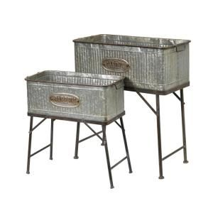 Add Style And Antiquity To Your Outdoor Scene Or Garden With This Classically Designed Set Of Two Plant Holders Artfully Crafte Metal Tub Metal Planters Decor