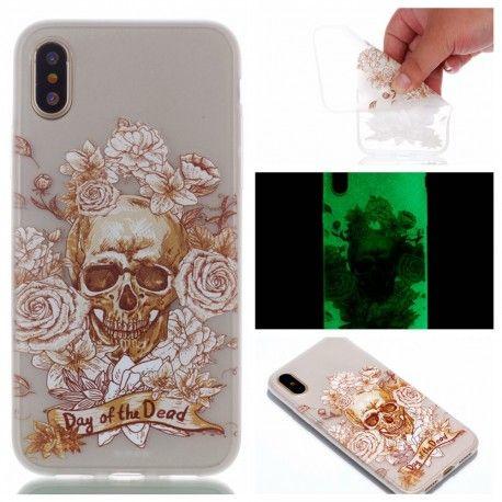 Coque Silicone iPhone X Phosphorescente Tête de Mort | Coque ...