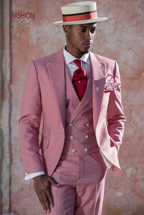 Abito fashion moda sposo uomo rosso in tessuto pied de poule. Completo  ONGala 2189. Collezione Fashion Color 2018 99996acead8