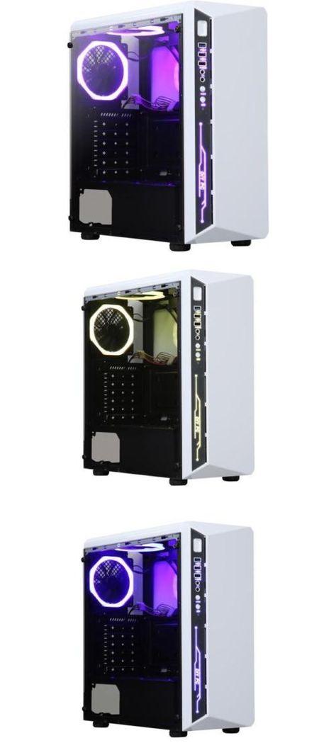 DIYPC DIY-Model X-W-RGB White Steel Tempered Glass ATX Mid Tower Computer Case