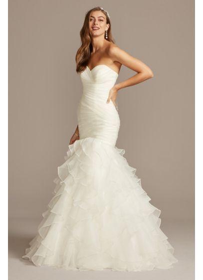 Organza Mermaid Wedding Dress With Ruffled Skirt David S Bridal In 2020 Wedding Dresses For Petite Women Petite Wedding Dress Ruffle Wedding Dress