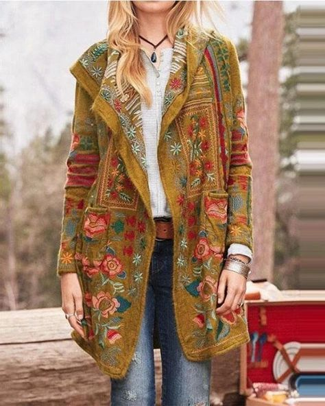 Floral Print Long Sleeves Casual Coat – Prilly outwear fashion outwear jacket warm coat outfit coats for women #fallcoats#warm#casualcoats