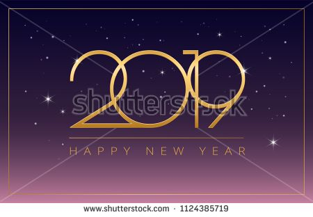 New Year 2019 Business Greeting Card Elegant Design Golden 2019 And Happy New Year Elegant Typog Business Greeting Cards Greeting Cards Business Illustration