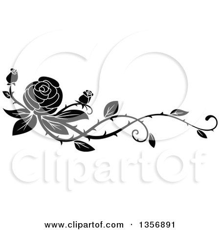 Clipart Of A Black And White Floral Rose Vine Border Design Element Free Vector Illustration Black And White Roses Rose Flower Sketch