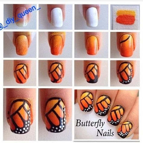 Nail art DIY - hand drawn, hand painted, nail art tutorial, step by step, butterfly, wings, insect.