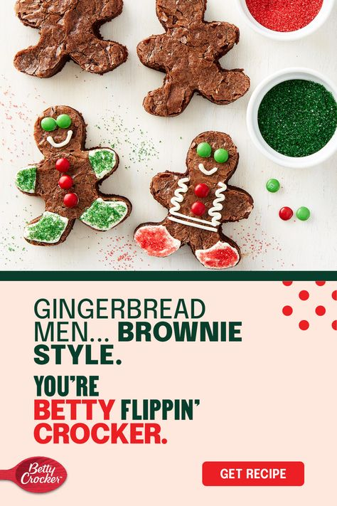Gingerbread men are a classic holiday treat but if you're craving chocolate over ginger turn a box of Betty Crocker fudge brownie mix into the classic cut out. Brownie Gingerbread Men make it easy to get your little elves in on the decorating fun too!