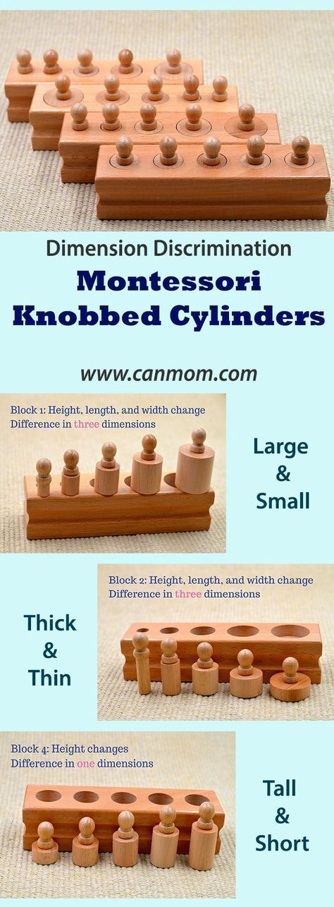 Montessori Knobbed Cylinders Wonder Educational Material For Age 3 6 What Sells On Etsy Learning Toys Math For Kids