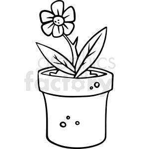 Cartoon Flower Pot Bottle Black White Vector Clipart In 2020 With