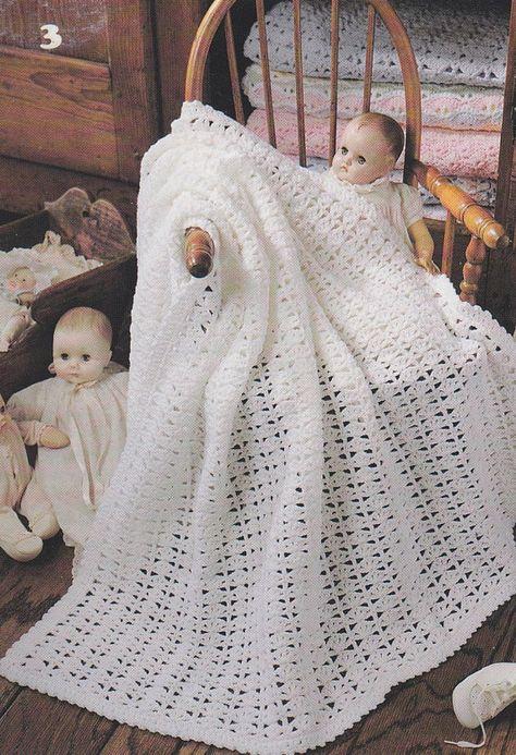 Lovely Baby Afghan Crochet Patterns - Christening Blanket - 6 Shell ...