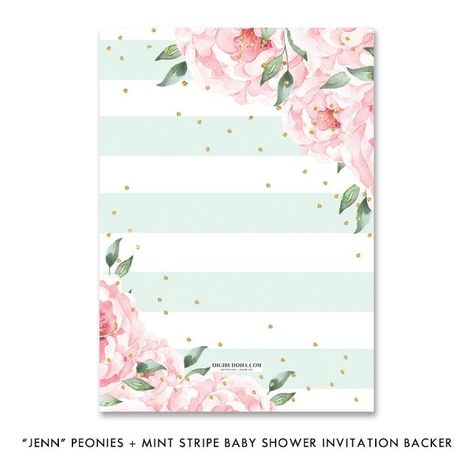 """Jenn"" Peonies + Mint Stripe Baby Shower Invitation"