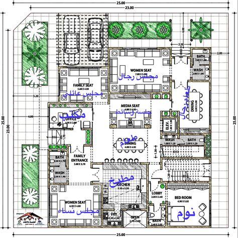 مخططات فلل مخطط فيلا مسقط أفقي لفيلا Home Map Design Modern Floor Plans New House Plans