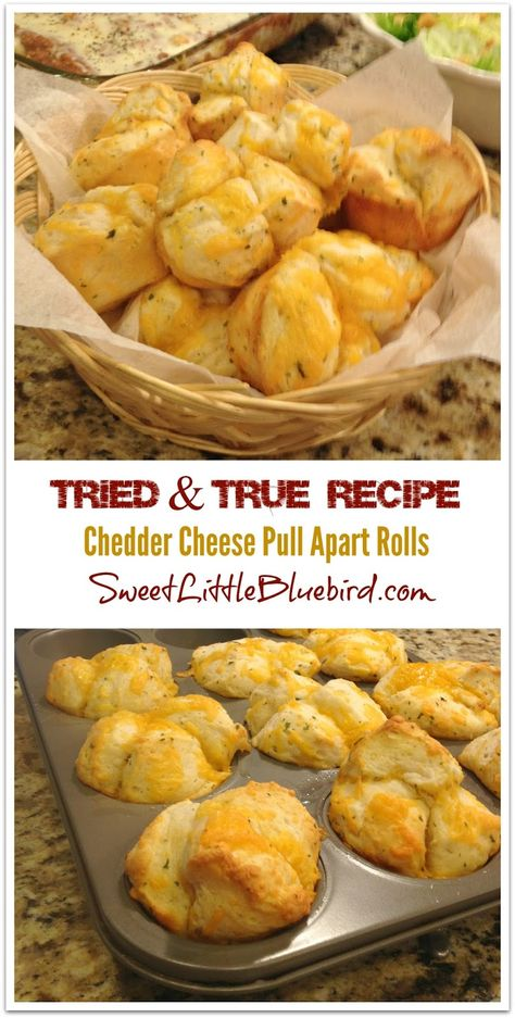 Cheddar Pull Apart Rolls - Tried and True Recipe that is AWESOME!  Cinch to make, so good! These were devoured! (made with refrigerated biscuits)   SweetLittleBluebird.com
