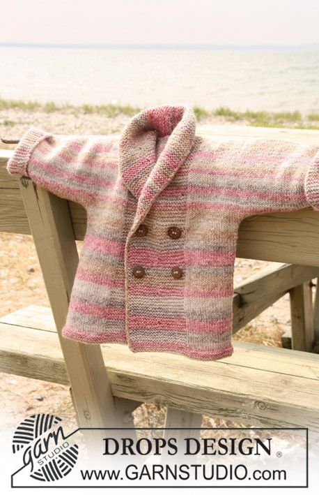 Baby Knitting Patterns Modern DROPS Baby - DROPS Double-breasted with shawl collar in fable.
