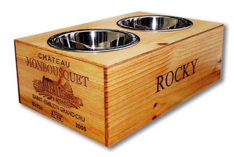 Whiner and Diner repurposes wine crates into pet beds and feeders.