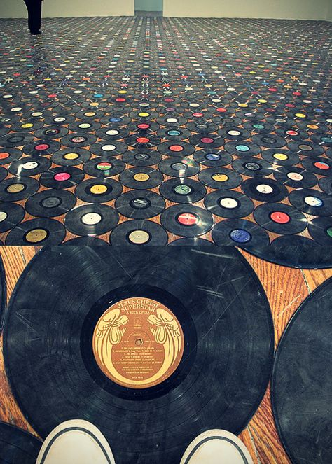 Vinyl records flooring, walls or ceiling!