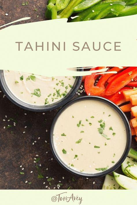 Tahini Sauce Recipe & Video - Learn to make authentic tahini sauce from sesame paste, lemon, and garlic. | ToriAvey.com #tahini #MiddleEasternrecipe #appetizer #vegan #TorisKitchen