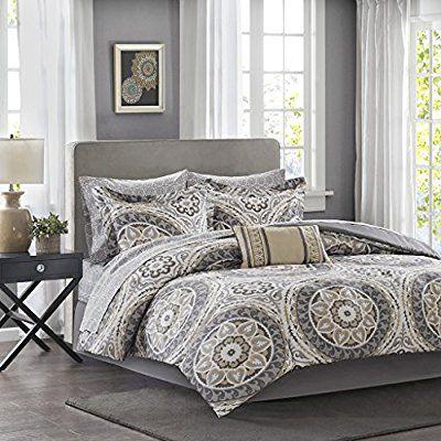 Amazon Com Madison Park Essentials Serenity Cal King Size Bed Comforter Set Bed In A Bag Taupe Medallion With Images Comforter Sets Grey Comforter Sets Bedding Sets