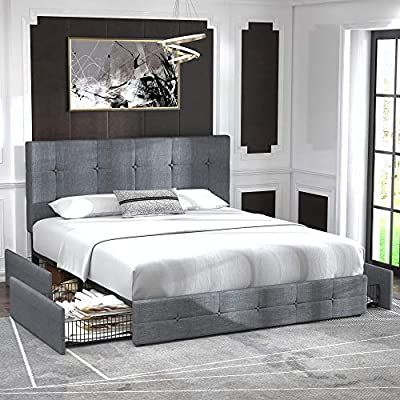 Queen Platform Bed Frame, Queen Platform Bed With Storage And Upholstered Headboard