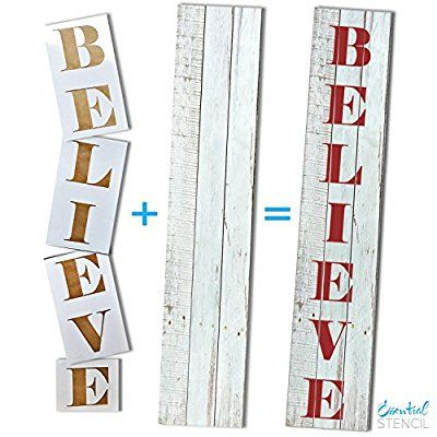 Large Christmas Stencils For Wood.Amazon Com Essential Stencil Extra Large 50 Inch Believe