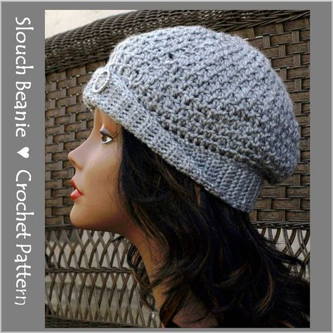 Textured Slouch Beanie Crochet Pattern by CharacterCrochet on Etsy $4.99