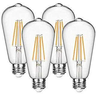 Ascher E26 Led Light Bulbs 6w Equivalent 60w 800lm White 5000k St58 Edison Bulb Vintage Filament Clear Gl In 2020 Filament Bulb Lighting Dimmable Led Edison Bulb