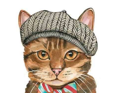 Cat Watercolor Print Ice Cream Cone Cat Sundae Cat | Etsy