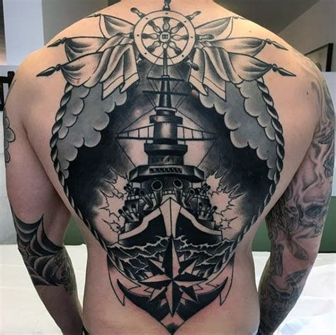 Battleship Tattoo In 2020 Tattoos Navy Tattoos Ship Tattoo Sleeves
